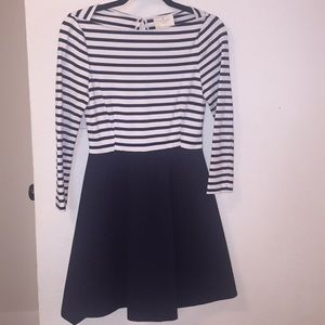 Kate Spade striped skater dress w/ slvs